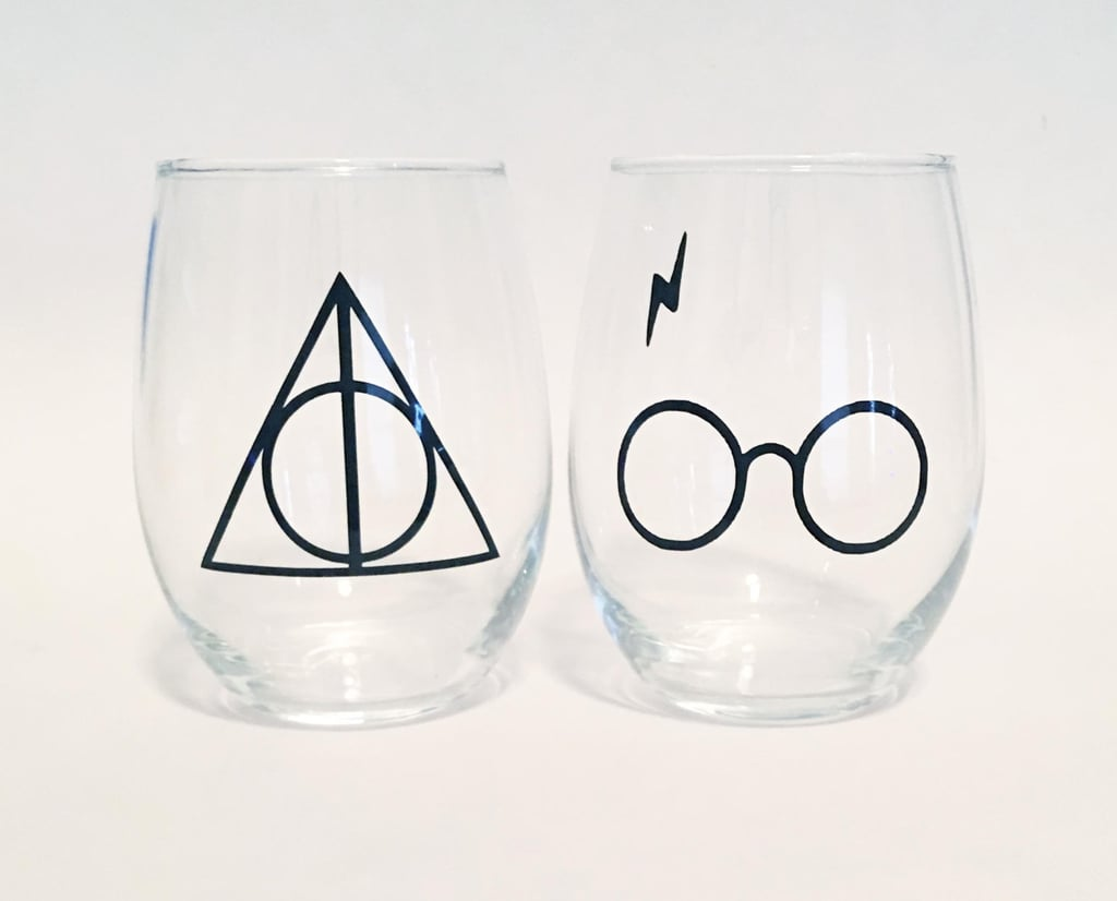 Deathly Hollows Symbol and Harry Potter Glasses Lightning Bolt Scar Inspired Stemless Wine Glasses ($17)