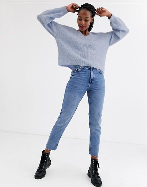 ASOS Design Fluffy V-Neck Ribbed Sweater