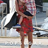 Nicole Richie carried her son, Sparrow, while in the South of France.