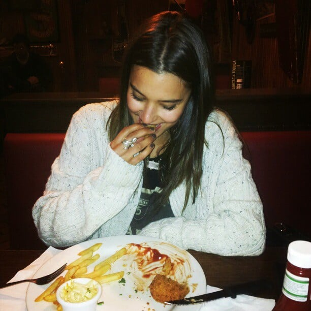 Reece Mastin snapped girlfriend Rhiannon Fish over a meal. Source: Instagram user reecemastinofficial