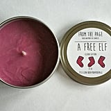 A Free Elf candle ($11) with clean cotton notes