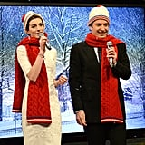 Anne Hathaway and Jimmy Fallon wore matching hats and scarves.