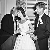 Jackie's original wedding dress was ruined 10 days before the ceremony. A pipe burst in designer Ann Lowe's NYC studio, drenching Jackie's wedding gown in water, as well as all of the bridesmaid dresses. Anne and her team worked tirelessly to remake all of the dresses and had them done just in time for the wedding.