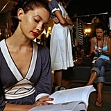 The quiet before the storm included reading for this model at the L'Oreal Melbourne Fashion Festival in 2006.