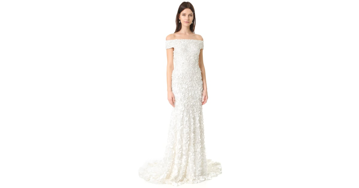 Theia Marina Off the Shoulder Petal Gown ($1,495) | Modest Wedding ...