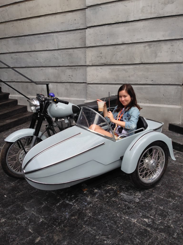 "Hagrid's motorbike in front of Gringott's makes for the perfect photo op — especially when you have a butterbeer in one hand and a wand in the other. But the coolest shot in the motorbike has to be this one Warwick Davis posted on Twitter with the caption ""Looking like a dodgy band's album cover."""