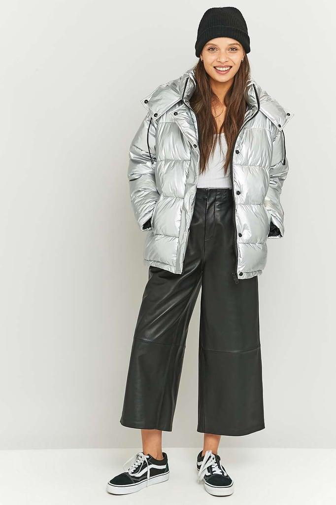 Light Before Dark Metallic Silver Puffer Jacket 154 53