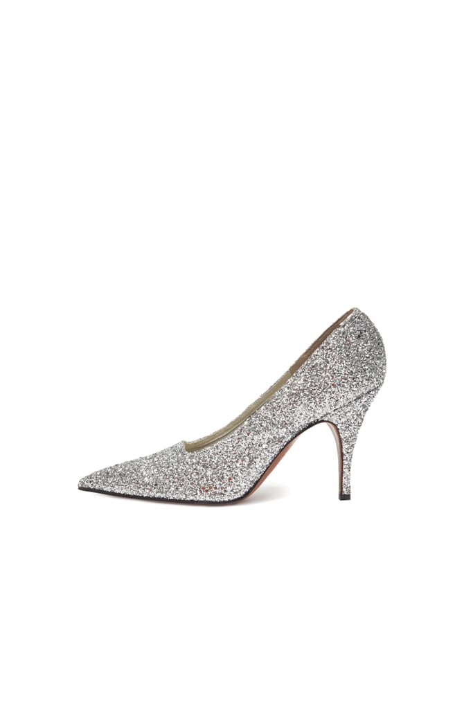 Victoria Beckham's Exact Dorothy Glitter Pumps in Silver