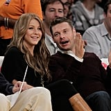Ryan Seacrest and Julianne Hough chatted during a Lakers game in October 2010.