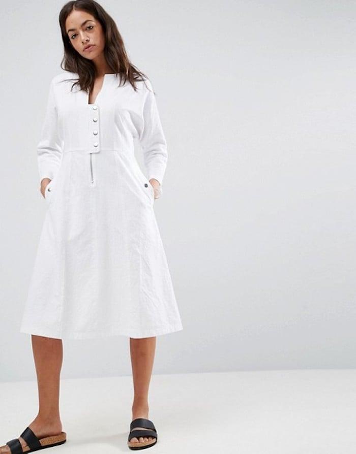 1255789f498 Emily Ratajkowski Wearing White Brock Collection Dress