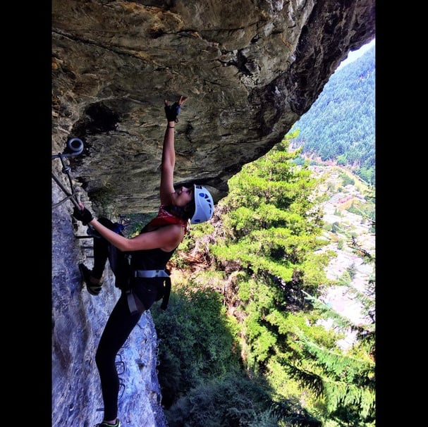 Nina Dobrev's #tbt post of her rock climbing in New Zealand is impressive.