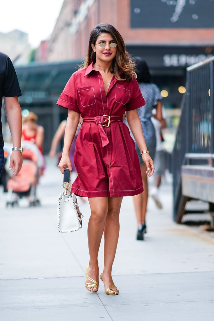 Work a Bold Colored Shirtdress With Strappy Metallic Sandals