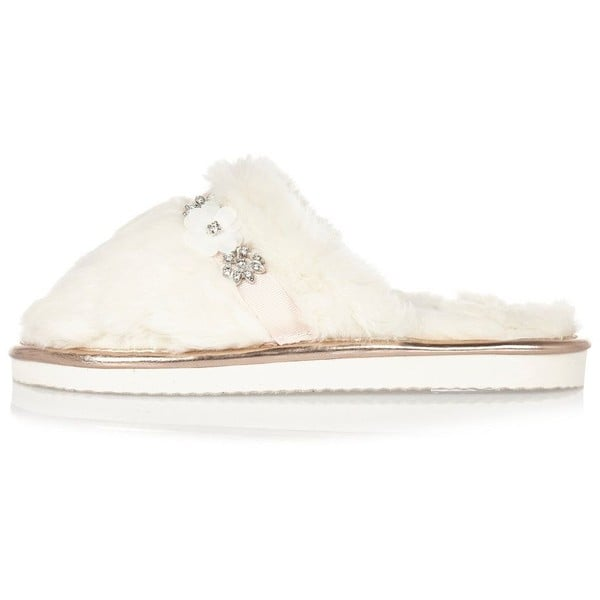River Island Womens Cream fluffy embellished mule slippers ($32)