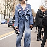 Rock a Denim Jumpsuit With Matching Colored Sandals