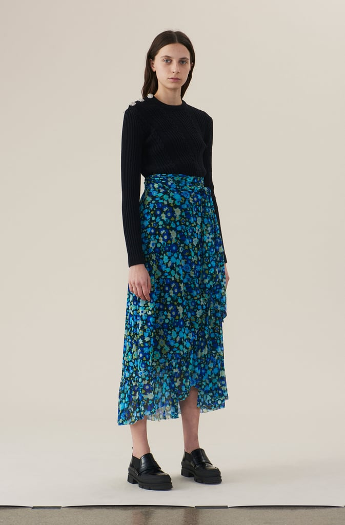 Ganni Printed Mesh Wrap Skirt