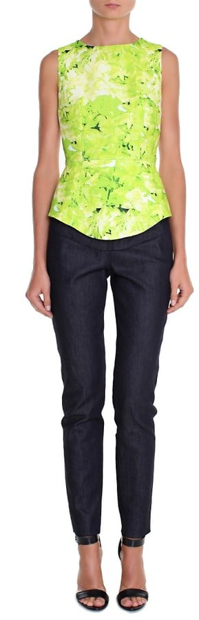 Tibi's Daises Yoked Top ($350) could embolden anything from your boyfriend jeans to your white pencil skirt with its neon color.