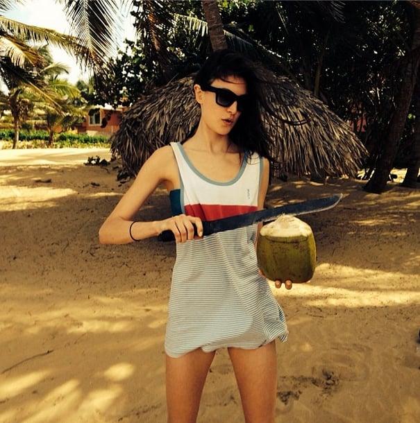 Jacquelyn Jablonski perfected her machete skills while drinking healthy. Source: Instagram user jacquelynjablonski
