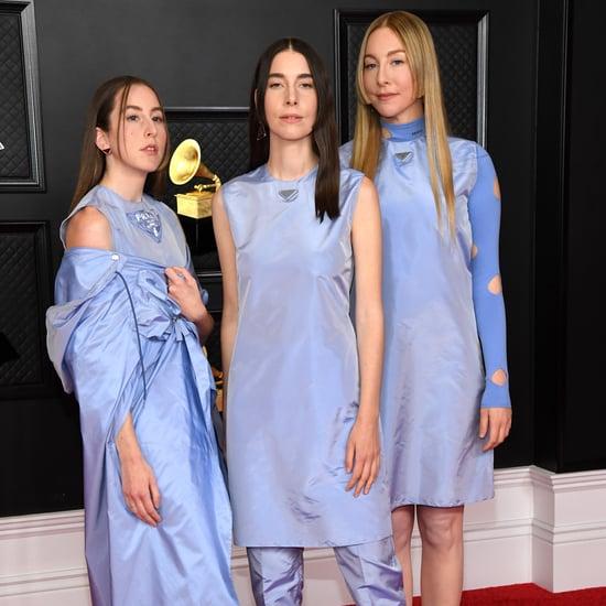 Haim's Blue Prada Outfits at the 2021 Grammys
