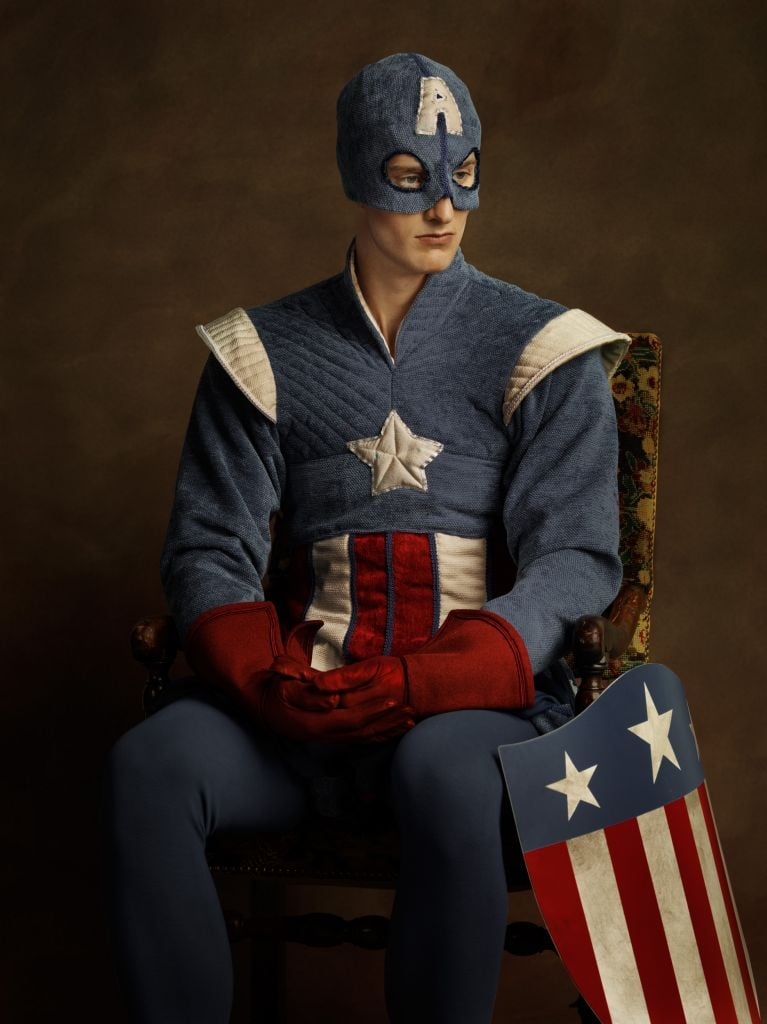 captain america soldier with helmet and shield in american colors