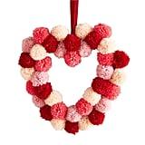 """12"""" Pink Pom-Pom Heart Wreath"""