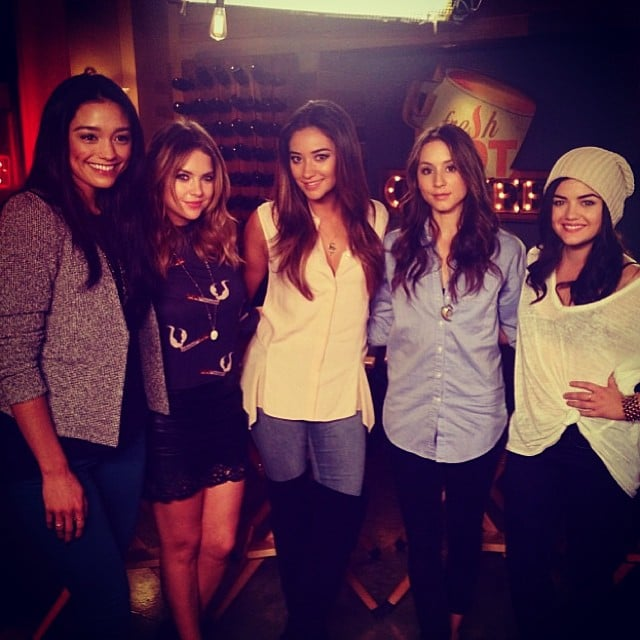 The girls of Pretty Little Liars posed together on set. Source: Instagram user itsashbenzo