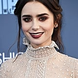 Lily Collins' Makeup and Hair at 2017 Critics' Choice Awards