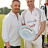 In May, Prince William snapped a smiley picture with Tom Hardy in London.