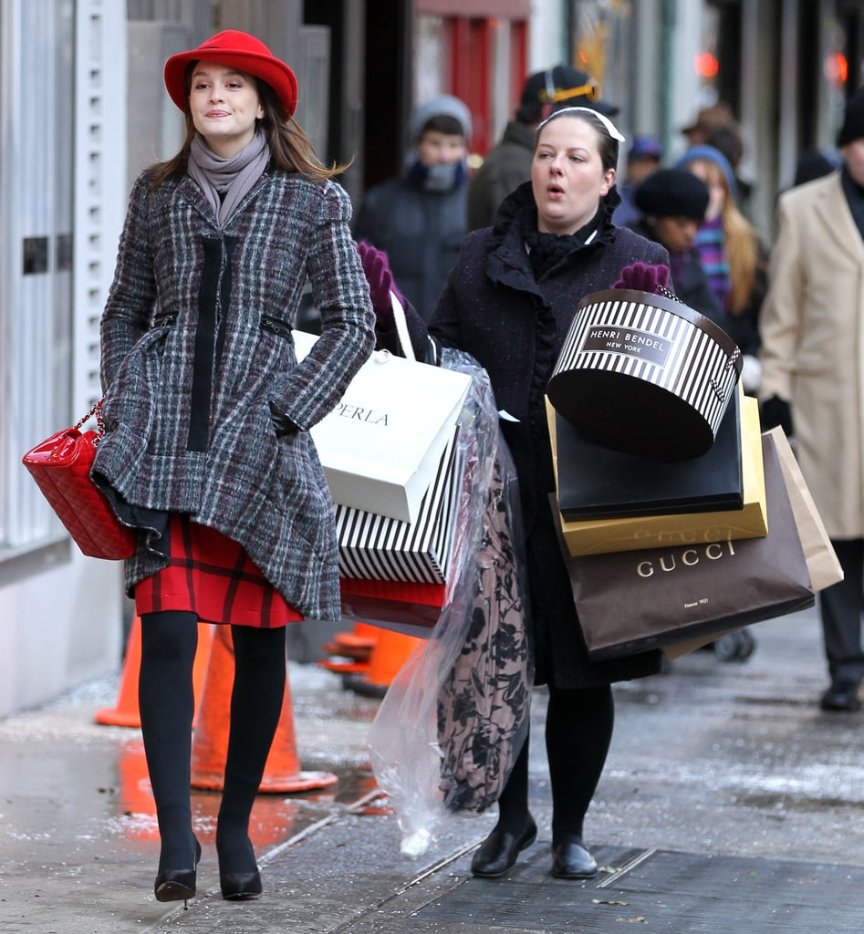 Leighton Meester Films a Shopping Scene For Gossip Girl in New York