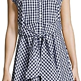 Neiman Marcus Collared Tie-Waist Gingham Dress