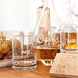 More than booze, the bar cart is a great place to share pieces that represent who Lauren and Jason are as a couple. The etched crystal decanter was a wedding gift that they filled with Jason's favorite, 1942 tequila.