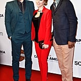 Scarlett Johansson, Samuel L. Jackson, and Chris Evans posed together at the Paris premiere of Captain America: The Winter Soldier on Monday.