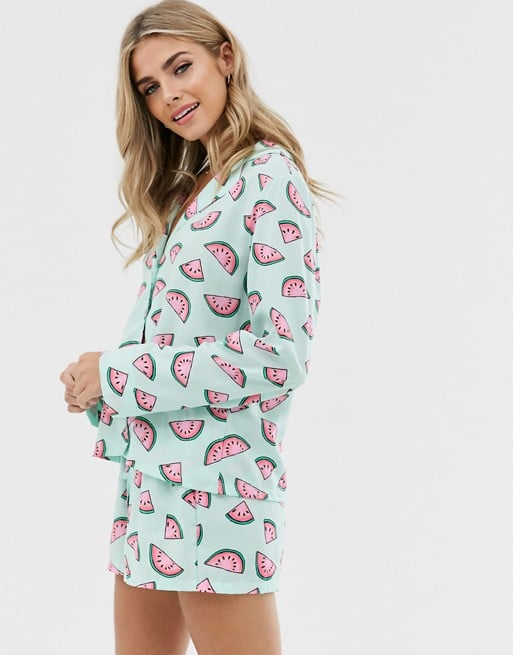 ASOS Design Watermelon 100 Percent Modal Traditional Pajama Set