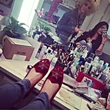 Lucy Hale kicked up her webbed feet. Source: Instagram user lucyhale