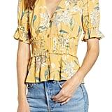 June & Hudson Floral Pintuck Detail Short Sleeve Blouse