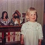 """Heeeeeey...it's me here, just posing in front of my Mom's romance novel collection.. #shealsomadethosebustswhichiassumearecharactersfromoneofthebooks #tbt"""