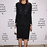 Carine Roitfeld was right on theme in a sheer-inset Chanel jacket and coordinating skirt. She finished the look with open-toe Balenciaga heels.