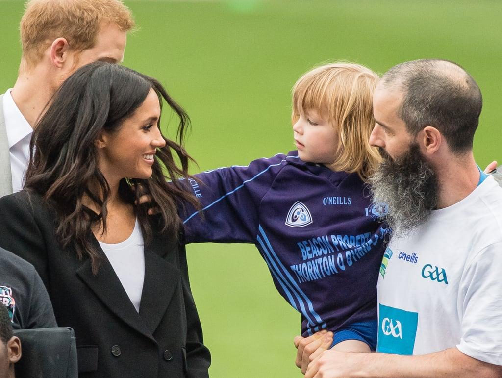 Kid Touching Meghan Markle's Hair in Ireland