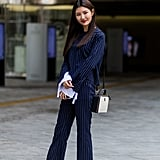 Pinstripes on navy is just genius. Not only is the look cool, but anyone can easily rock this print.