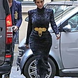 She was spotted leaving the Balmain office in Paris in April 2014 with Olivier Rousteing, wearing this velvet dress and golden belt by the brand.