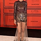 Adriana Lima wore a sheer Givenchy gown to the CFDA Fashion Awards.
