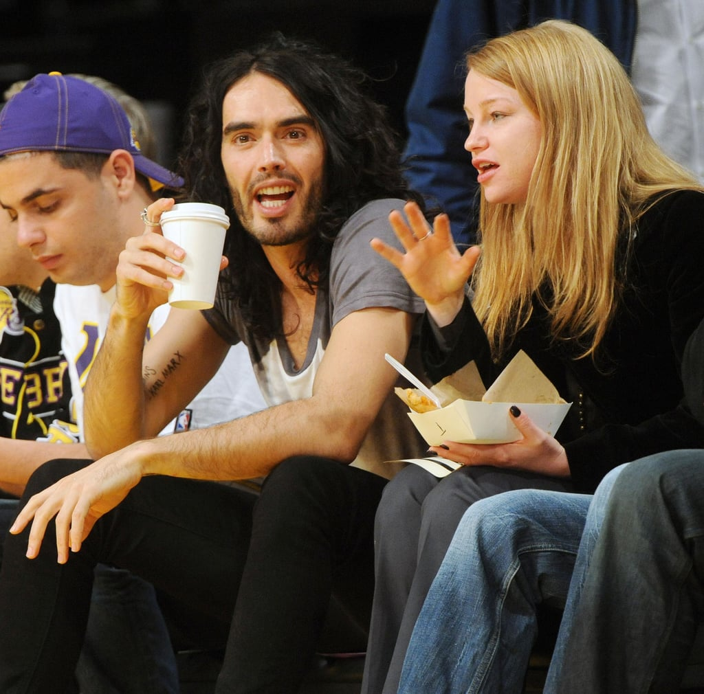 Photos of Russell Brand at LA Lakers Game