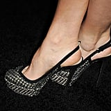 Abigail Spencer's heels boasted cool metallic detailing with a kind of woven effect.