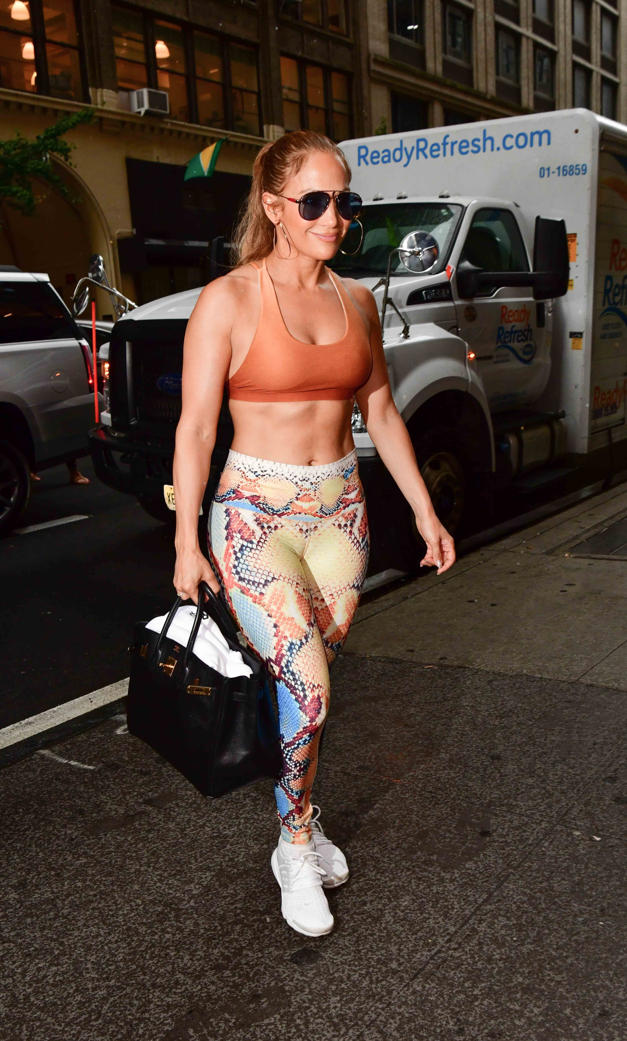 NEW YORK, NY - AUGUST 01:  Jennifer Lopez seen on the streets of Manhattan on August 1, 2018 in New York City.  (Photo by James Devaney/GC Images)