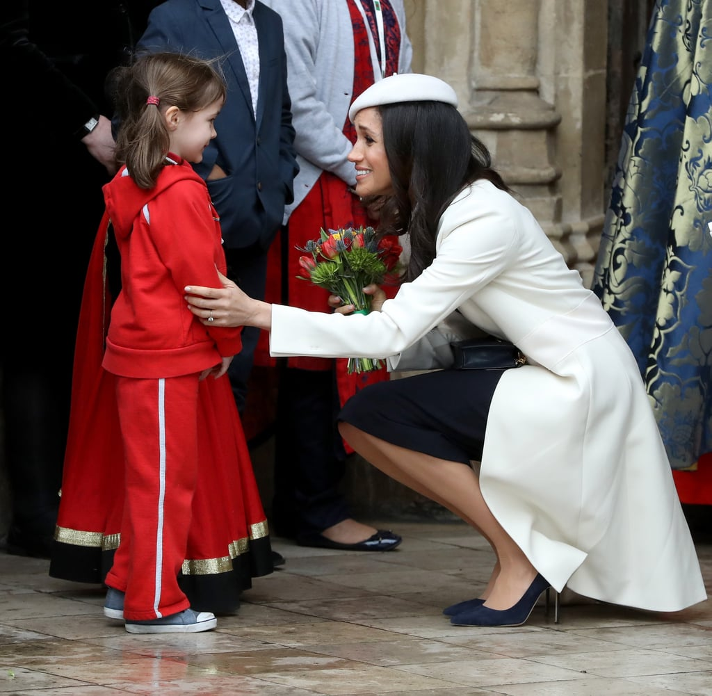 "Meghan Markle has only made a handful of public appearances with Prince Harry so far, but she's already proving herself to be quite the kid magnet. Like her fiancé and future in-laws Prince William and Kate Middleton, Meghan hasn't shied away from bonding with the children she's come across on her royal outings, and on Monday, she was photographed bending down to talk to a little girl at the Commonwealth Day service in London.       Related:                                                                                                           9 Times Meghan Markle Was Royally Adorable With Kids               As she departed the service with Prince Harry by her side, the former Suits star stopped to greet a young girl outside Westminster Abbey, and both parties looked thrilled. At one point, another little girl came over to make Meghan's acquaintance, which naturally also brought over Prince Harry and Kate, who also greeted the girls. Just last week, Meghan was seen giving advice to an adorable 10-year-old girl during a visit to Birmingham, England. After Sophia Richards told Harry that she wants to be an actress when she grows up, he led her over to Meghan for a chat. ""Meghan told me that I can achieve whatever I want to achieve,"" Sophia told reporters, adding, ""And Meghan said she would like to see me on TV when I become an actress."" Would you expect anything less?      Related:                                                                                                           9 Times Meghan Markle Went Against Tradition and Broke Royal Protocol"