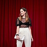 Sheer Top + White Trousers