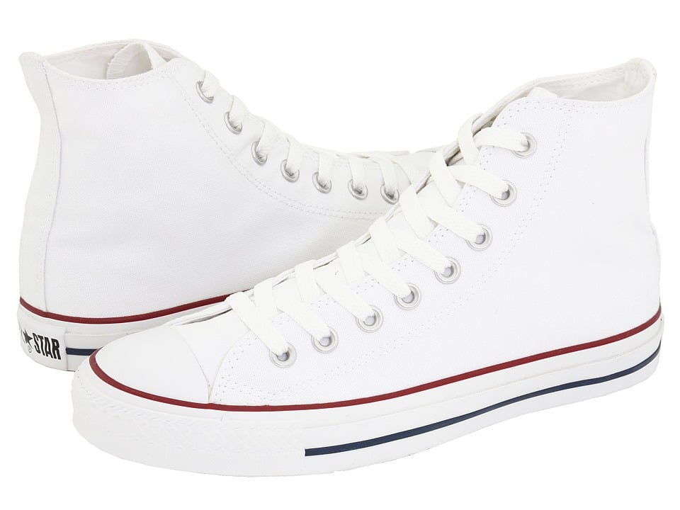 Bright white kicks add intrigue to a sundress.  Converse Chuck Taylor All Star Core High-Tops ($45)