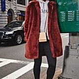 On Assistant Editor Marina Liao: Frame coat, H&M x Erdem hoodie, Saint Laurent bag, Topshop jeans, Golden Goose sneakers.