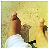 Beyoncé compared toes with little Blue Ivy. Source: Instagram user beyonce