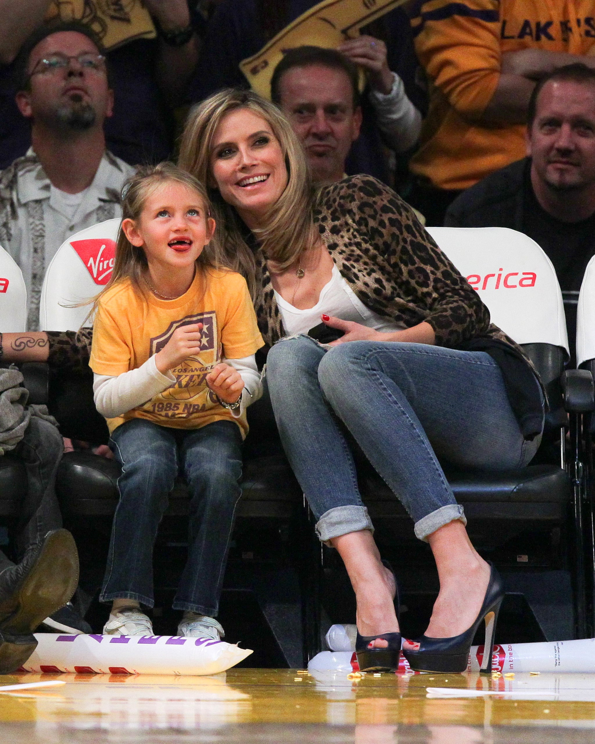 Lindsay Auto Group >> Heidi Klum, Seal, Tom Hardy, Sacha Baron Cohen, Jack Nicholson, Hilary Swank at Lakers Game ...