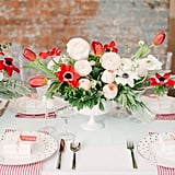 Poppies make a bright centrepiece.
